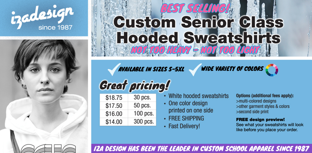 IZA Design Custom Shirts - Cool Senior Sweatshirts and Hoodies