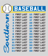 Baseball Roster Design - Southern List desn-632s1