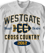 Cross Country T Shirt - Collegiate Heater desn-353c3