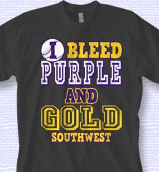 custom softball shirt design bleed purple and gold desn 878b1 - Team T Shirt Design Ideas