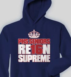 Senior Hooded Sweatshirt - Crown Seniors  logo-233c2