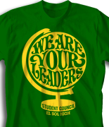 Student Council Shirt Design - Leader Globe desn-914l2