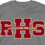 Swim Team T Shirt - Athletic Letters 264a1