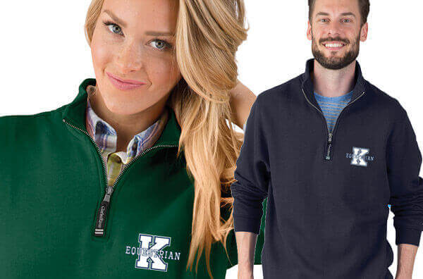 Equestrian Embroidered Apparel by Charles River Apparel - Quarter Zip Sweatshirt
