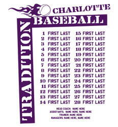 Baseball Roster Designs - Tradition Names - desn-630t4