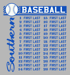 Baseball Roster Designs - Southern List - desn-632s3