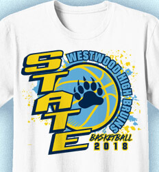 Basketball T Shirt Design - State Ball Splatter - cool-787s1