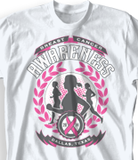 Breast Cancer T Shirt - Running For A Cure desn-800r1