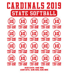 Custom Softball Roster Shirt Designs - State Softball Roster - cool-897s1
