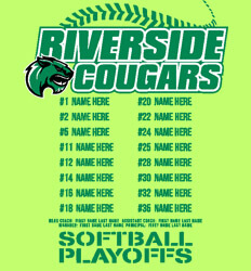 Custom Softball Roster Shirt Designs - Mascot Playoff Roster - cool-909m1