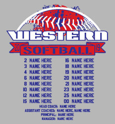 Custom Softball Roster Shirt Designs - Splatter Roster - cool-791s2
