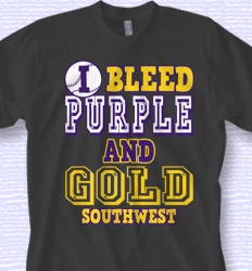 Good Custom Softball Shirt Design   Bleed Purple And Gold Desn 878b1