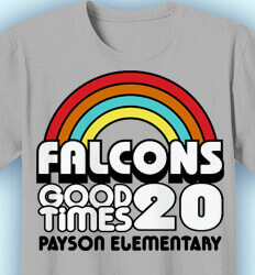 Elementary School T Shirt - Retro Rainbow - idea-288r1