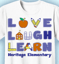 Elementary Teacher Shirts - School House Letters - cool-354s3