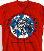 Elementary T Shirt Design - Paw World desn-217p3