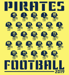 Custom Football Roster Shirt Designs - Stencil Roster - idea-66s1