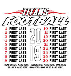 Custom Football Roster Shirt Designs - Tribal Roster - idea-72b1