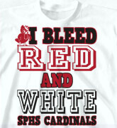 High School Shirts - I Bleed Red and White - cool-136b1