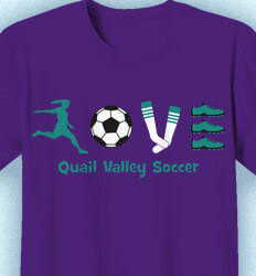 Soccer Shirt Designs - Love Soccer Symbols - cool-356l1