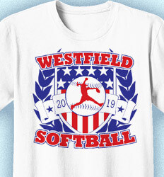 Softball T-Shirt Design - Salute Shield - cool-98s3