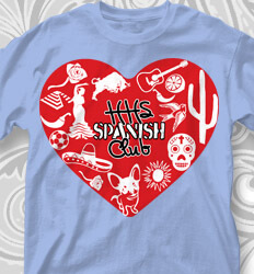 Spanish Club T Shirt Designs - Spanish Culture Heart - cool-776s1