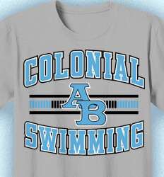 Swimming T Shirt Designs - Collegiate Lane Stripe - cool-925c1