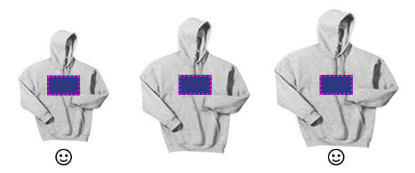 Optimal design size on youth and adult hoodie