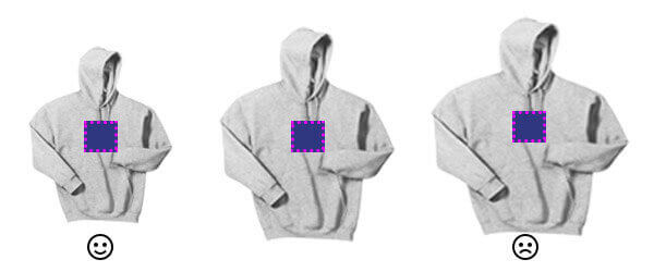 Your smallest hoodie will determine your design size